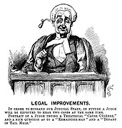 "Legal Improvements. In order to husband our judical staff, in future a judge will be expected to hear two cases at the same time. Portrait of a judge trying a theatrical ""Cause Celebre,"" and a nice question as to a ""Remainder-Man"" and a ""Tenant in Tail Mail."" (a Victorian cartoon shows a judge with two simultaneous facial expressions)"