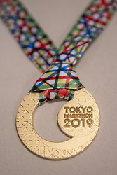 March 1, 2019 - Tokyo, Tokyo, Japan - Tokyo Marathon 2019 award pure gold medal are displayed, in Tokyo on March 1, 2019. The annual Tokyo Marathon will be held on March 3. (Credit Image: © Alessandro Di Ciommo/NurPhoto via ZUMA Press)