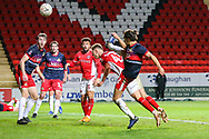 Charlton Athletic defender Toby Stevenson (43) heads the ball off target during the The FA Cup 2nd round match between Charlton Athletic and Doncaster Rovers at The Valley, London, England on 1 December 2018. Photo by Toyin Oshodi