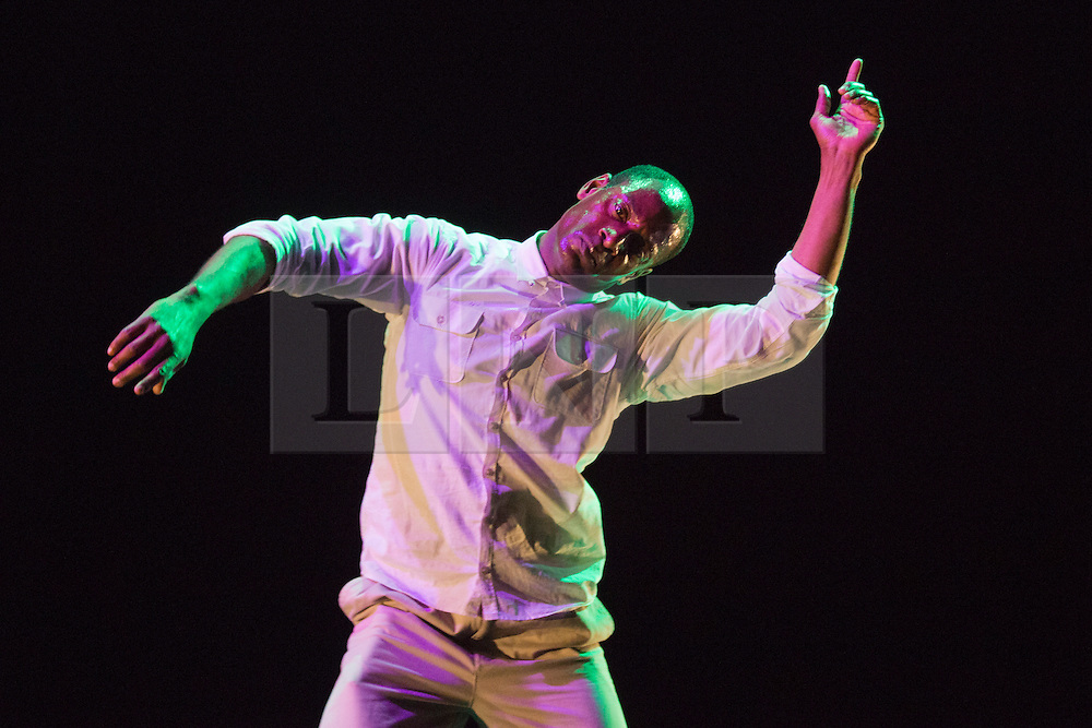"""© Licensed to London News Pictures. 13/04/2014. London, England. Pictured: Performer and Choreographer Paradigmz performs """"The Dancehall Spirit"""". After two highly successful seasons, Wild Card returns for a third series. This Sadler's Wells initiative gives emerging artists the opportunity to present several works of their choice in a mixed bill. Running at the Lilian Baylis Studio on 13th and 14th February. Photo credit: Bettina Strenske/LNP"""