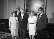 Annie Maguire Visits Tanaiste At Iveagh House. (R61)..1987..07.07.1987..7th July 1987..As part of her campaign to prove the Innocence of the Maguire 7 and The Guildford 4, Annie Maguire took her case to The Tanaiste, Brian Lenihan, at Iveagh House in Dublin. Mrs Maguire's contention was that the 4 and 7 were wrongly convicted using suspect and fraudulent evidence. The 4 and 7 were convicted in England for pub bombings which was said were carried out by the IRA who took their bombing campaign from Northern Ireland to the streets of English cities...Pictured prior to discussions about the Maguire 7 and Guildford 4 were ;Mrs Annie Maguire,.David Andrews TD, Member of the all party committee looking into the cases of both groups, An Tanaiste and Minister for Foreign Affairs, Brian Lenihan, Therese Smalley and Errol Smalley, Chairman of the Guildford 4 and Maguire Family groups.