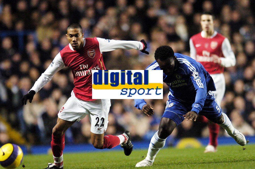 Photo: Olly Greenwood.<br />Chelsea v Arsenal. The Barclays Premiership. 10/12/2006. Chelsea's Michael Essien and Arsenal's Gael Clichy