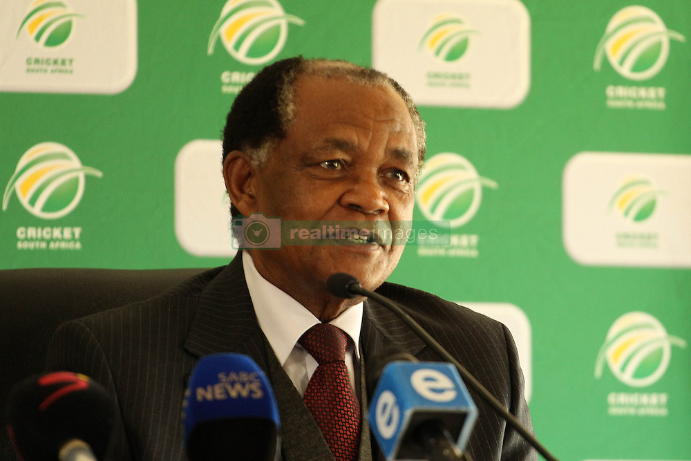 Bernard Ngoepe, independent chairperson of the CSA Anti-corruption unit and former judge president of the North and South Gauteng High Courts during the press conference held by Cricket South Africa to announce the outcome of an Anti Corruption investigation.  It was announced that Jean Symes, formerly of the Lions was banned for 7 years, Pumelela Matshikwe, formerly of the Lions was banned for 10 years, Ethy Mbhalati, formerly of the Titans was banned for 10 years and Thami Tsolekile, a former Proteas's wicket keeper, contracted to and captain of the Lions was banned for 12 years.  The press conference was held at PPC Newlands Cricket Stadium in Cape Town, South Africa on the 8th August 2016<br /> <br /> Photo by:   Ron Gaunt / Real Time Images