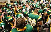Richland coach Mike Neidhold gets emotional after addressing the team on Senior Night before defeating Walla Walla 34-7 at Fran Rish Stadium in Richland on Oct. 15, 2010.