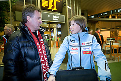 Primoz Ulaga and Vesna Fabjan when she and P.Majdic arrived home with cristal globus at the end of the nordic season 2008/2009, on March 23, 2009, at airport Jozeta Pucnika, Brnik, Slovenia. (Photo by Vid Ponikvar / Sportida)