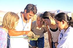 Jeff Seminoff Showing Stomach Samples to Catherine, Jamina, Marissa & Melania