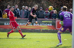 Arbroath's Ryan Wallace. Brechin City 1 v 1 Arbroath, Scottish Football League Division One played 13/4/2019 at Brechin City's home ground Glebe Park. Arbroath win promotion.