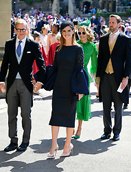 Sarah Rafferty arrives at St George's Chapel at Windsor Castle for the wedding of Meghan Markle and Prince Harry.
