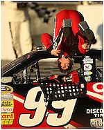 HAMPTON, GA:,Carl Edwards does a backflip  after winning the Pep Boys Auto 500 at Atlanta Motor Speedway on Sunday10/26/08, ©2008 Johnny Crawford