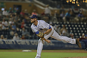 Columbus Clippers pitcher Michael Peoples (38) delivers a pitch from the windup during the MiLB International Championship baseball game against the Durham Bulls, Thursday, September 12, 2019, in Durham, N.C. The Clippers beat the Bulls 6-2 to complete a three-game sweep of the two-time defending champion. (Brian Villanueva/Image of Sport)