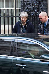 Prime Minister Theresa May leaves 10 Downing Street in London to attend an event at the House of Commons to commemorate the centenary fo the Sufferagettes before the weekly meeting of the UK cabinet - London. February 06 2018.