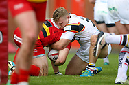 Bradford Bulls hooker Sam Hallas (29) in the tackle during the Kingstone Press Championship match between Dewsbury Rams and Bradford Bulls at the Tetley's Stadium, Dewsbury, United Kingdom on 10 September 2017. Photo by Simon Davies.