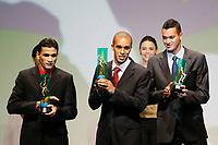 "20091207: RIO DE JANEIRO, BRAZIL - Brazilian Football Awards 2009 (""Craque Brasileirao 2009""), held at the Museum of Modern Art in Rio de Janeiro. In picture: L-R - Ronaldo Angelim (Flamego, 3rd), Miranda (Sao Paulo) - Best central defender - left side, Rever (Gremio, 2nd). PHOTO: CITYFILES"