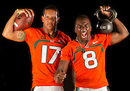 University of Miami Football Portrait Session 2013<br /> with quarterback Stephen Morris & running back Duke Johnson for the Miami Herald on Saturday, August 17, 2013.
