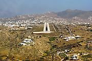 runway approach shot Mykonos Island National Airport (IATA: JMK, ICAO: LGMK) Mykonos, Greece.