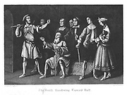 The smith threatening Leonard Holt because he will not obey the Lord Mayor's instructions that all dogs must be killed to prevent the spread of the Plague, and protects Bell the dog of Mike Macascree the blind piper. The Plague of London (1665). Illustration by John Franklin (active 1800-1861) for William Harrison Ainsworth 'Old Saint Paul's', London 1855 (first published 1841). Engraving.