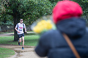 The runner Sam Bartlett-Pestell (16559) during the London Marathon that took place this Sunday, Oct 4, 2020. Around 45,000 participants run the 26.2 mile distance on a route of their choosing, wherever they are based due the outbreak of the coronavirus disease (COVID-19). London, UK, October 04, 2020. (VXP Photo/ Romena Fogliati)
