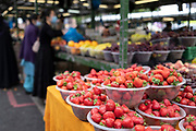 Strawberries for sale at the open market on 3rd August 2021 in Birmingham, United Kingdom. The Open Market offers a huge variety of fresh fruit and vegetables, fabrics, household items and seasonal goods. The Bull Ring Open Market has 130 stalls.