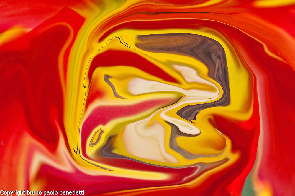 red and yellow fluid abstract shapes with brown shades on red background.