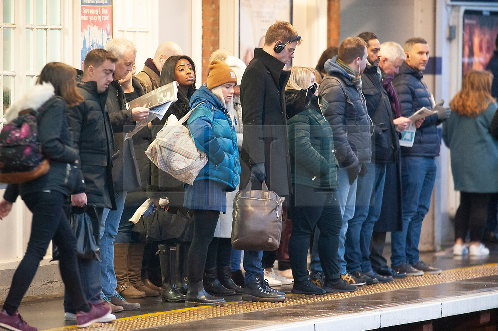 © Licensed to London News Pictures. 01/02/2019. Pettswood, UK.Freezing cold weather conditions for London commuters at Pettswood train station in South East London this morning after the coldest night in the UK for seven years, South Eastern trains are running a winter timetable today. Photo credit: Grant Falvey/LNP