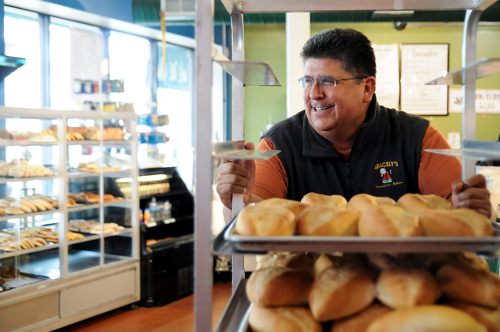 Sixto Rincon is the the owner of Aracely's Bakery in Franklin Park. Tuesday, June 18th. © 2013 Brian J. Morowczynski ViaPhotosa