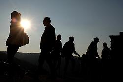 March 23, 2019 - Znojmo, Czech Republic - People enjoy the mornings sunshine along the Znojmo Hill Lock in Southern Moravia in the Czech Republic. (Credit Image: © Slavek Ruta/ZUMA Wire)