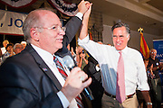 14 SEPTEMBER 2011 - SUN LAKES, AZ: Andy Tobin (CQ), Speaker of the Arizona House of Representatives with Mitt Romney (CQ) at the Oakwood Clubhouse at Sun Lakes Wednesday. Romney was one of the first of the 2012 Republicans running for the GOP Presidential nomination to come to Arizona. He campaigned Wednesday in Tucson and Sun Lakes and attended a private event in Tempe.    PHOTO BY JACK KURTZ