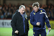Leeds United manager Steve Evans looks deep in thought during the Sky Bet Championship match between Brentford and Leeds United at Griffin Park, London, England on 26 January 2016. Photo by Matthew Redman.