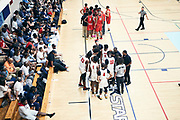 NORTH AUGUSTA, SC. July 10, 2019. PSA Cardinals during a timeout at Nike Peach Jam in North Augusta, SC. <br /> NOTE TO USER: Mandatory Copyright Notice: Photo by Royce Paris / Jon Lopez Creative / Nike