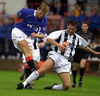 Fotball: Dunfermline v Rangers, Scottish Premier League, East EDnd Park, Dunfermline. Pic Ian Stewart, Saturday 11th. August 2001<br />Flo shoots and scores