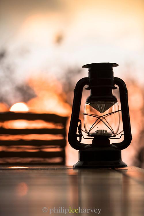 Close-up of traditional paraffin lamp at African bush camp, Eswatini