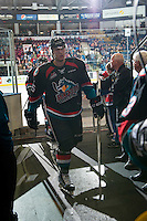 KELOWNA, CANADA - OCTOBER 26: Cal Foote #25 of the Kelowna Rockets exits the ice and heads to the dressing room on October 26, 2016 at Prospera Place in Kelowna, British Columbia, Canada.  (Photo by Marissa Baecker/Shoot the Breeze)  *** Local Caption ***