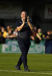 Sutton United manager Matt Gray celebrates after the Sky Bet League Two match at Borough Sports Ground, Sutton. Picture date: Saturday October 9, 2021.