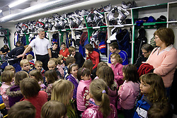Head coach of Slovenia John Harrington of Slovenian Ice Hockey National team  at visit of children of kindergarten Mojca from Dravlje, Ljubljana during the IIHF World Championship Division 1 Group B tournament, on April 21, 2010, in Hala Tivoli, Ljubljana, Slovenia.  (Photo by Vid Ponikvar / Sportida)