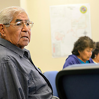 052914  Adron Gardner/Independent<br /> <br /> Charles Hustito, Chairman of the Zuni tribal constitution reforming committee, speaks during an interview at the Zuni fire station in Blackrock Thursday.