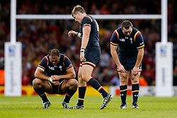 Wales Inside Centre Jamie Roberts and Outside Centre Tyler Morgan looks frustrated even after Wales win the match - Mandatory byline: Rogan Thomson/JMP - 07966 386802 - 01/10/2015 - RUGBY UNION - Millennium Stadium - Cardiff, Wales - Wales v Fiji - Rugby World Cup 2015 Pool A.