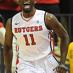 Rutgers Scarlet Knights guard/forward Dane Miller (11) reacts to a big, early basket during Big East NCAA action during Rutgers' 65-58 victory over Notre Dame at the Louis Brown Athletic Center in Piscataway, N.J.