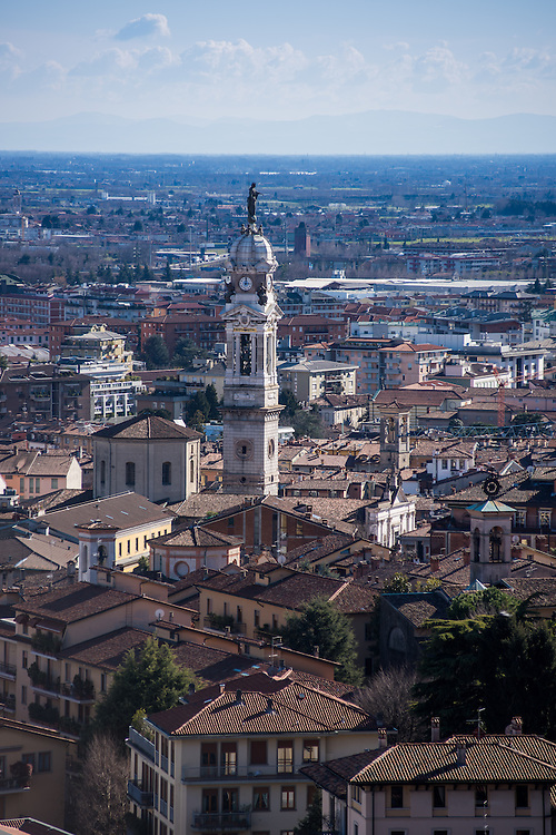Lower Bergamo seen from the old city with the Campanile di S. Alessandro in Colonna