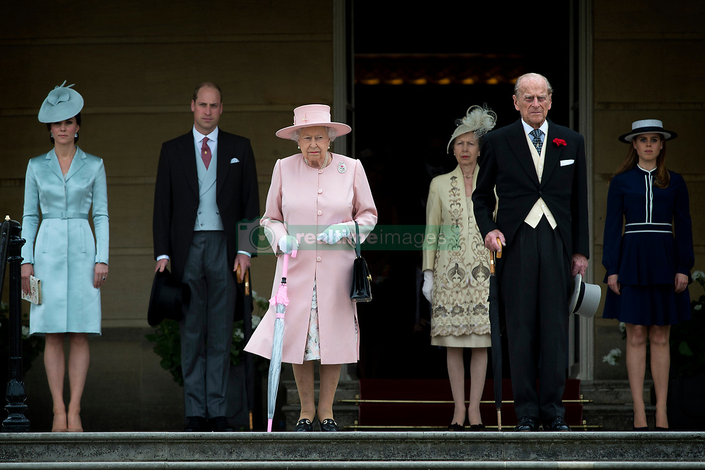May 16, 2017 - London, London, United Kingdom - Image licensed to i-Images Picture Agency. 16/05/2017. London, United Kingdom. From left:  The Duchess of Cambridge, the Duke of Cambridge, Queen Elizabeth II, the Princess Royal, the Duke of Edinburgh and Princess Beatrice at a Garden party at Buckingham Palace in London.  Picture by ROTA  / i-Images UK OUT FOR 28 DAYS (Credit Image: © Rota/i-Images via ZUMA Press)