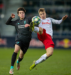 GRÖDIG, AUSTRIA - Tuesday, December 10, 2019: Liverpool's substitute Layton Stewart (L) and FC Salzburg's David Affengruber during the final UEFA Youth League Group E match between FC Salzburg and Liverpool FC at the Untersberg-Arena. (Pic by David Rawcliffe/Propaganda)