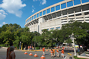 AUSTIN, TX - AUGUST 31: A general view from outside Darrell K Royal - Texas Memorial Stadium before kickoff between the Texas Longhorns and the New Mexico State Aggies on August 31, 2013 in Austin, Texas.  (Photo by Cooper Neill/Getty Images) *** Local Caption ***