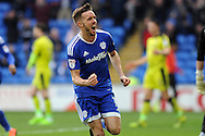 Craig Noone of Cardiff city celebrates after scoring Cardiff's 3rd goal. EFL Skybet championship match, Cardiff city v Rotherham Utd at the Cardiff city stadium in Cardiff, South Wales on Saturday 18th February 2017.<br /> pic by Carl Robertson, Andrew Orchard sports photography.