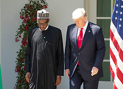 United States President Donald J. Trump and President Muhammadu Buhari of Nigeria depart the Oval Office to conduct a joint press conference with in the Rose Garden of the White House in Washington, DC on Monday, April 30, 2018. Photo by Ron Sachs/CNP/ABACAPRESS.COM
