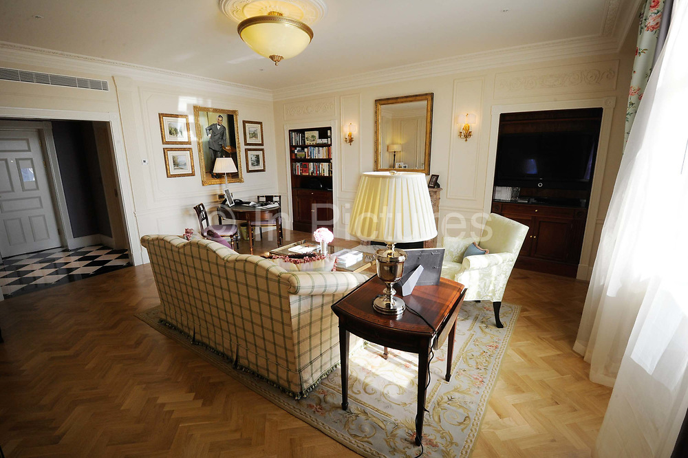 """One of the suites at the Saboy Hotel. The iconic hotel reopened after a three year refit that cost £220 million ($350 million). The Savoy Hotel is a located on the Strand, in central London. Built by impresario Richard D'Oyly Carte the hotel opened on 6 August 1889. It was the first in the Savoy group of hotels and restaurants owned by Carte's family for over a century. It has been called """"London's most famous hotel"""" and remains one of London's most prestigious and opulent hotels, with 268 rooms and panoramic views of London."""