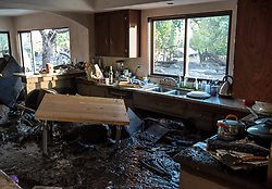 January 10, 2018 -  Montecito, California, U.S. - A kitchen in a home on Glen Oaks Road in Montecito was filled with mud and debris, after deadly mudslides swept the area. (Credit Image: © Santa Barbara News-Press via ZUMA Wire)