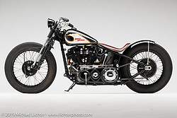 """""""'Irish Goodbye"""", A Black and White Bobber, made from a 1947 HD Knucklehead, by Bryan Lane, in  Waxhaw, SC.  Photographed by Michael Lichter in Sturgis, SD on 8/3/18. ©2018 Michael Lichter."""
