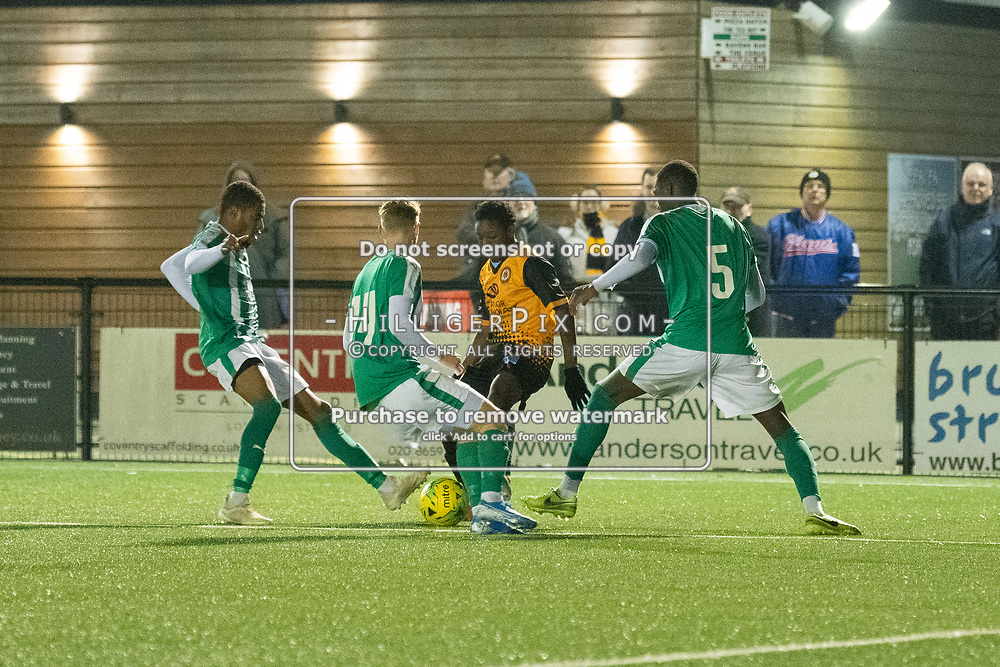 BROMLEY, UK - OCTOBER 30: Muqisa Hodasi, of Cray Wanderers,  the Kent Senior Cup match between Cray Wanderers and VCD Athletic at Hayes Lane on October 30, 2019 in Bromley, UK. <br /> (Photo: Jon Hilliger)