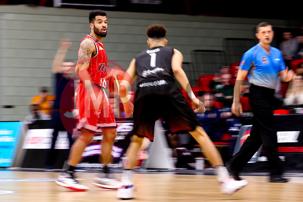 Lewis Champion of Bristol Flyers takes on Kiefer Douse of Leicester Riders - Photo mandatory by-line: Robbie Stephenson/JMP - 11/01/2019 - BASKETBALL - Leicester Sports Arena - Leicester, England - Leicester Riders v Bristol Flyers - British Basketball League Championship