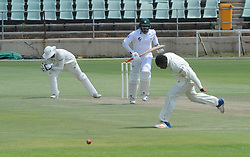 Johannesburg 20-12-18. South Africa Invitation XI vs Pakistan three-day match at Sahara Willowmoore Park, Benoni. Day 2.  South African bowler Tshepo Ndwandwa crosses the wicket after bowling to Pakistanbatsman Azhar Ali during the afternoon session. Picture: Karen Sandison/African News Agency(ANA)