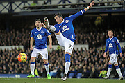 Ramiro Funes Mori (Everton) clears during the Barclays Premier League match between Everton and Newcastle United at Goodison Park, Liverpool, England on 3 February 2016. Photo by Mark P Doherty.